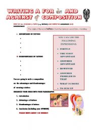 English Worksheet: WRITING A FOR AND AGAINST COMPOSITION (GUIDELINE): TATTOOS