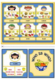 English Worksheet: WHO IS WHO? GAME (DESCRIBING WHAT PEOPLE LIKE/DON�T LIKE - FOOD AND DRINK)