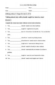 English Worksheets: offering advice