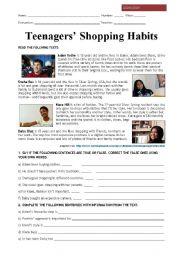 English Worksheet: Teenagers´ shopping habits