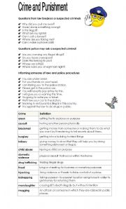 English Worksheet: Crime and Punishment - First Part