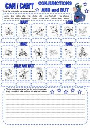 English Worksheets: CAN / CAN�T (3) CONJUNCTIONS AND and BUT