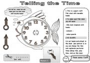 English Worksheet: FISH_CLOCK PAPER CRAFT WITH MOVABLE HANDS! - FUN ACTIVITY TO PRACTISE TELLING THE TIME (with instructions)