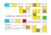 English Worksheet: Board game with phrasal verbs with