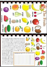 English Worksheet: The Fruits