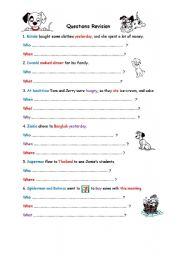 English Worksheets: Questions Revsion