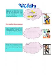 English worksheet: Wish and regret present and past