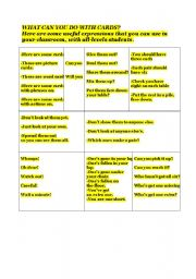 English Worksheets: USEFULL EXPRESSIONS WITH CARDS