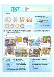 English Worksheet: Test   on time, days of the week, numbers 10-100  and some/any