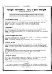 English Worksheets: How to Lose Weight Reading and Comprehension