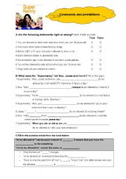 English Worksheet: Modal verbs-to be allowed to