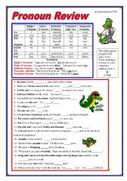 English Worksheet: Pronoun Review