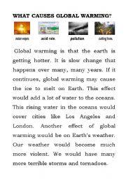 English worksheet: global warming reading work sheet