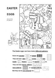 English Worksheet: Easter Eggs - Can you find the patterns?