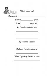 English Worksheets: This is about me