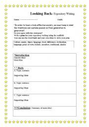 English Worksheets: Looking back-Expostory writing