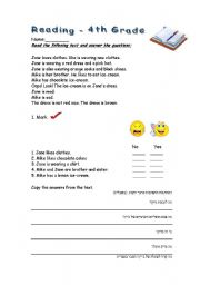 4th grade reading worksheet - ESL worksheet by ygalfl
