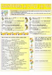 English Worksheet: QUANTIFIERS: (A) LITTLE / (A) FEW (3 - 6)