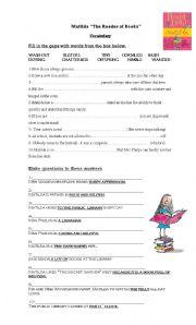 Matilda- Worksheet on the book