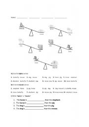 English Worksheets: Weight / Mass Comparisons