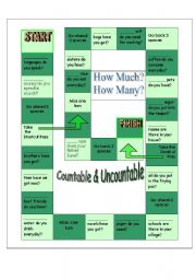 English Worksheets: How much & How many Boardgame