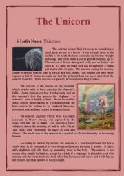 English Worksheets: The Unicorn