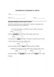 English worksheet: editing worksheet 1