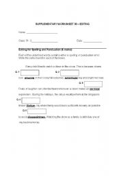 English worksheet: editing worksheet 2