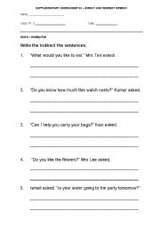 English worksheets: indirect speech worksheets, page 26