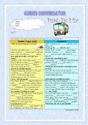 English Worksheet: Guided conversation - Travel (vehicles - holiday)