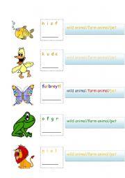 English Worksheets: animals anagram