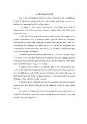 English Worksheets: Loy Krathong Festival