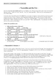 English Worksheets: Nasreddin Reading Text+Questions