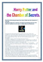 English Worksheet: Harry Potter series: Guided READING & WRITING project (over 30 tasks & 5 pages) (printer friendly version) : harry Potter and the Chamber of Secrets