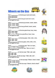 English Worksheet: The wheels on the bus go round and round