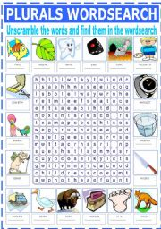 English Worksheet: PLURALS WORDSEARCH