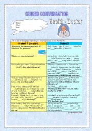 English Worksheet: Guided Conversation - Health - At the doctor�s