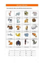 English Worksheet: Unscramble the letters of the animals names