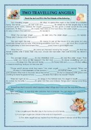 English Worksheets: reading comprehension- two travelling angels - Past Simple