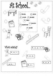school things esl worksheet by al2018. Black Bedroom Furniture Sets. Home Design Ideas