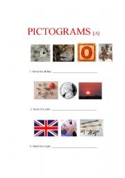 English Worksheets: Pictograms A (1 of 4)