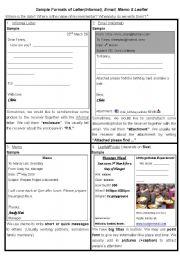 English Worksheets: Samples of Writing Format