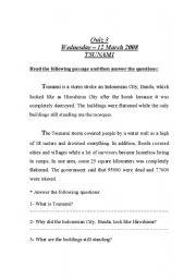 English Worksheet: reading (tsunami)