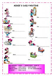 English Worksheets: MINIE�S DAILY ROUTINE