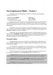 English Worksheets: Pre-Employment Skills