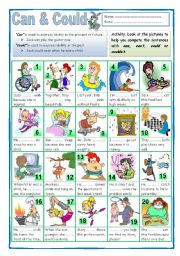 English Worksheets: Can, Can´t, Could, or Couldn´t (2)