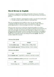 English Worksheet: word stress rules