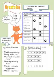 English Worksheets: My cat�s day (2 pages)