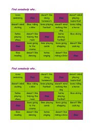 English Worksheets: Bingo (like/don�t like/don�t mind/love/hate)