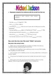 English Worksheets: Michael Jackson Activity - Biography and Music